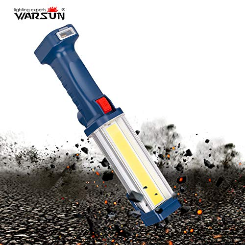 WARSUN Portable COB Rechargeable Work Light,Magnetic Base & Hanging Hook, 30W 1200Lumens Super Bright, 5000K, for Car Repairing, Camping, Hiking, Backpacking, Fishing,