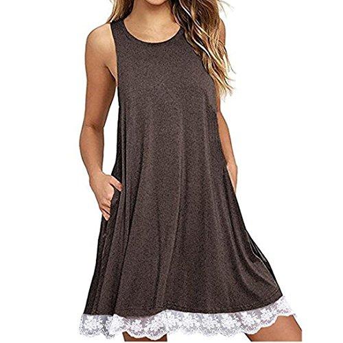 Trada Spitzekleid, Frauen-O-Ansatz-beiläufige Spitze Sleeveless über Knie-Kleid-lose Partei-Kleid Spitzentaschenhüftkleid MiniKleid Freizeitkleid Strandkleid Kleid Knielang Sommerkleider (XL, Kaffee)