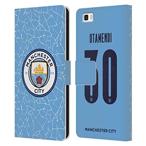 Head Case Designs Licenciado Oficialmente Manchester City Man City FC Nicolás Otamendi 2020/21 Jugadores Inicio Kit Grupo 2 Carcasa de Cuero Tipo Libro Compatible con Huawei P8lite / ALE-L21