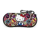 Hello Kitty - Funda para gafas de sol, funda protectora portátil, cremallera de viaje, funda de neopreno suave con clip para cinturón.