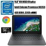 HP Chromebook 11 2020 Flagship Laptop Computer I 11.6' HD WLED Display I Intel Celeron Processor N3350 I 4GB DDR4 32GB eMMC I Webcam WiFi Type C Chrome OS + Delca 16GB Micro SD Card
