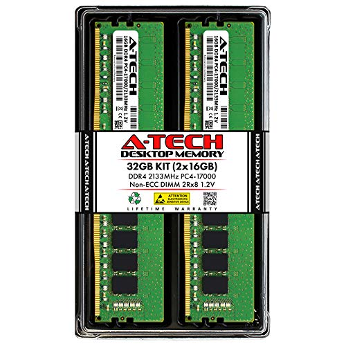 A-Tech 32GB (2x16GB) DDR4 2133MHz DIMM PC4-17000 UDIMM Non-ECC 2Rx8 1.2V CL15 288-Pin Desktop Computer RAM Memory Upgrade Kit