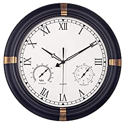 Waterproof Outdoor Clock, 18 Inch Outside Clock with Thermometer & Hygrometer Combo, Silent Battery Operated Metal Decorative Clock for Living Room, Bathroom, Garden, Patio & Pool - Black Golden