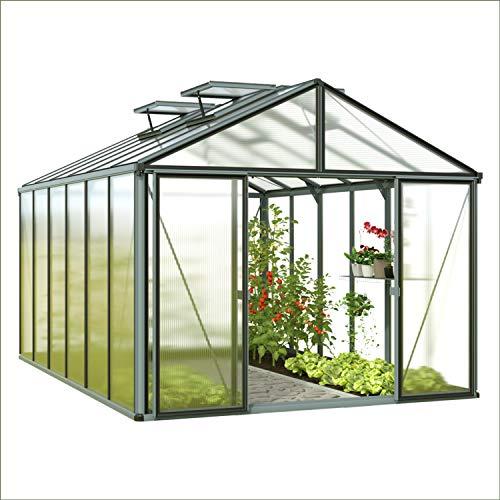Preisvergleich Produktbild GFP Asteria 23 Light Gewächshaus Greenhouse mit Fundament - 306x381cm,  formstabil und witterungsbeständig auch bei Hagel mit 12 mm Doppelstegplatten,  Verschiedene Sets vorhanden - Made in Austria