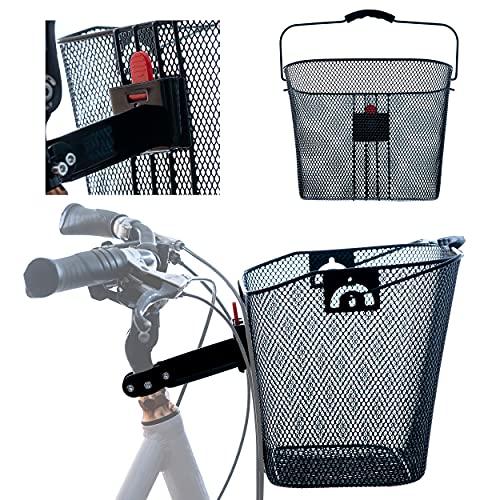 Feinmaschiger Metall Fahrradkorb Lenkerkorb Klicksystem für vorne mit Lenkeradapter Schnellbefestigung - ca. 34x26x25cm Abnehmbarer Vorderradkorb mit Tragegriff 22L 5kg Tragkraft als Einkaufskorb