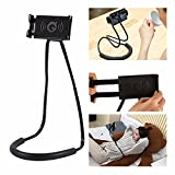 LuoMing Lazy Hang Neck Phone Support, 360 Degree Rotation Flexible Multi-Function Creative Mobile Phone Holder Desktop Bed Car Lazy Bracket Mobile Stand Support All Mobiles (Black)