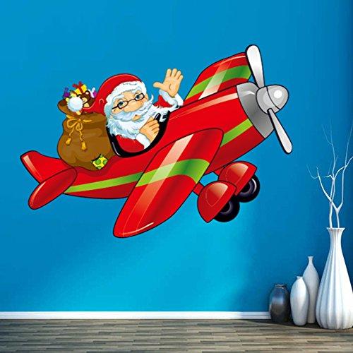 Kerstversiering met Kerstman het besturen van het vliegtuig Vrolijk Kerstmis Illustratie Sticker Bruiloft Decor Vinyl Waterdichte Muur PVC Sticker Wallpaper Decal Verwijderbaar