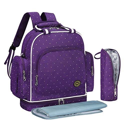 S-ZONE Baby Luiertas Reizen Rugzak Grote Waterdichte Schoudertas Fit Kinderwagen met Veranderende Pad en Draagbare Geïsoleerde Pocket Purple Dot