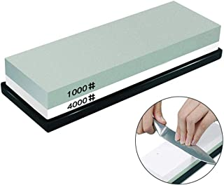 Kalolary Whetstone Knife Sharpening Stone 1000/4000 Grits, Dual Sided kitchen knife sharpener wet water stone for Kitchen, Hunting, Pocket Knives,Blades