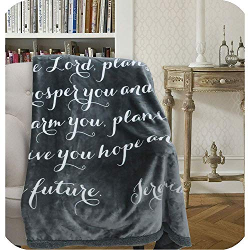 Luxuriously Soft Scripture Throw Blanket | Jeremiah 29:11 | 50x60 inches (Dark Gray with Ivory Scripture)
