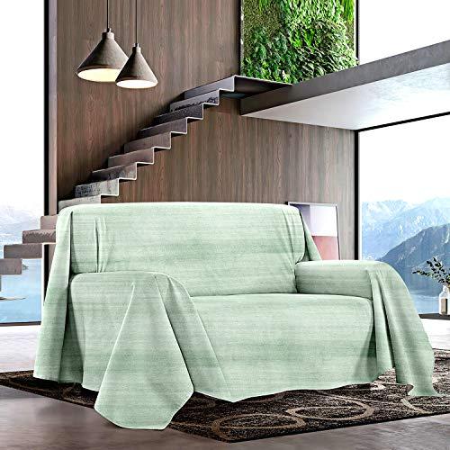 NuvolaNera Telo arredo multiuso con cotone – Copritutto, copridivano, copriletto e telo Pic-Nic – 250 x 250 cm 2 Piazze Gioia Verde