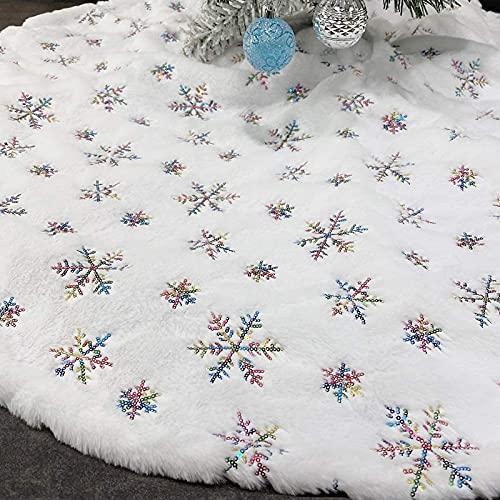 DADEA Falda de árbol de Navidad con lentejuelas, diseño de copo de nieve de 48 pulgadas, de lujo, bordado de copos de nieve...