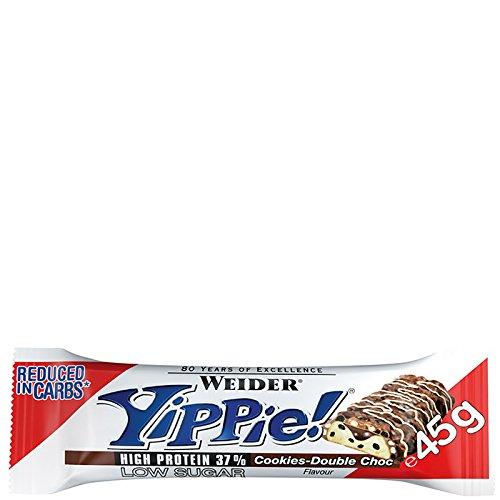 24x WEIDER YIPPIE BAR 45g (GUSTO BISCOTTO CIOCCOLATO) barretta low carb con il 37% di proteine + OMAGGIO - NT INTEGRATORI