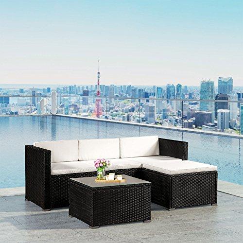 ArtLife Polyrattan Lounge Punta Cana M für 3-4 Personen mit Tisch in schwarz mit Bezügen in Creme - 3
