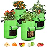 4 Pack 10 Gallon Grow Bags, Sealed Visualization Window Planter Bags, Breathable Thickened Non-Woven Fabric Plant Pots with Access Flap, Garden Planting Bags for Grow Potato,Tomato,Carrot
