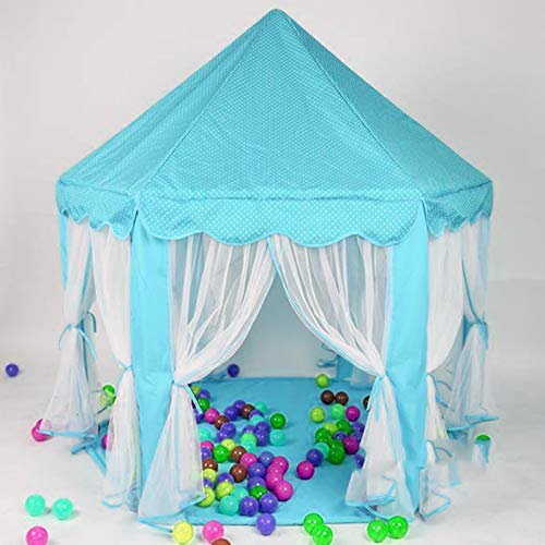 Youyijia Princess Castle Play Tent 140cm Diameter Hexagon Children Playhouse For Indoor Outdoor Games (Blue )