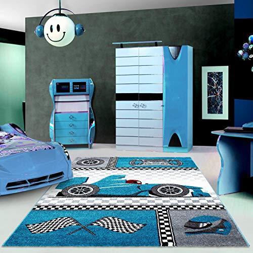 Ayyildiz Teppich-Kinderteppich für Kinderzimmer Pflegeleicht Rennwagen Muster, Polypropylen, Blau, 120 X 170