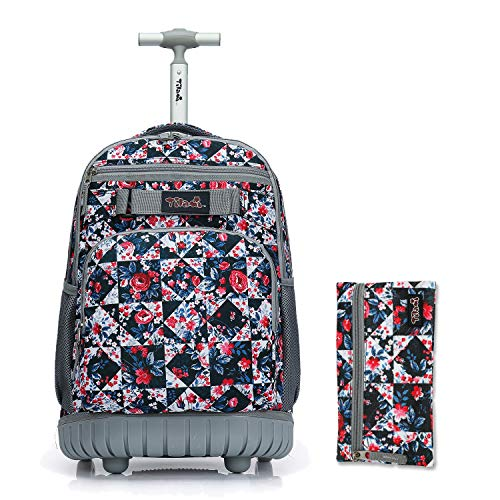 Tilami Rolling Backpack 18 inch with Pencil Case Wheeled Laptop Bag, Rose
