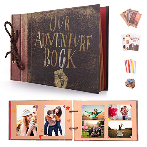 EKKONG Selbstgestalten Fotoalbum, Our Adventure Book Vintage DIY Scrapbook Album, Fotobuch Hochzeit Gästebuch, für Weihnachten Geburtstag Jahrestag Geschenk (80 Braun Seiten, 40 Blatt)