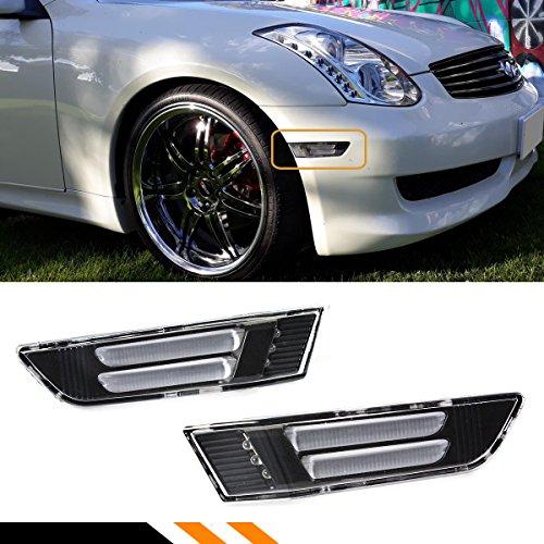 Fits for 2003-2007 Infiniti G35 2 Door Coupe Clear Lens Black LED Tube Stripe Front Bumper Side Marker Lamps Light