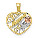 10k Two Tone Yellow Gold White Mama Pendant Charm Necklace Fine Jewelry For Women Gifts For Her