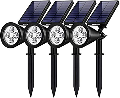 InnoGear SL404 Upgraded Solar 2-in-1 Waterproof Outdoor Landscape Spotlight Wall Auto On/Off for Yard Garden Driveway Pathway Pool, Pack of 4 (White Light)