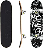 Hikole Skateboard - 31' x 8' Complete PRO Skateboard - Double Kick 9 Layer Canadian Maple Wood Adult Tricks Skate Board for Beginner, Birthday Gift for Kids Boys Girls 5 Up Years Old