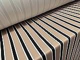 Tejido de punto elástico de licra de neopreno, por metro, rayas negras y beige
