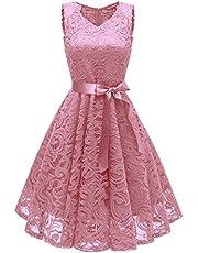 Uni-Wert Elegancka damska sukienka koktajlowa, bez rękawów, kwiatowa, koronkowa, swing, sukienka wieczorowa, dekolt w serek, styl vintage, sukienka ślubna
