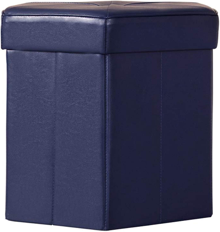 SYFO Household Storage Stool, Hexagonal Foldable Storage Stool, Fashion shoes Bench, Creative Storage Stool Stool (color   bluee)