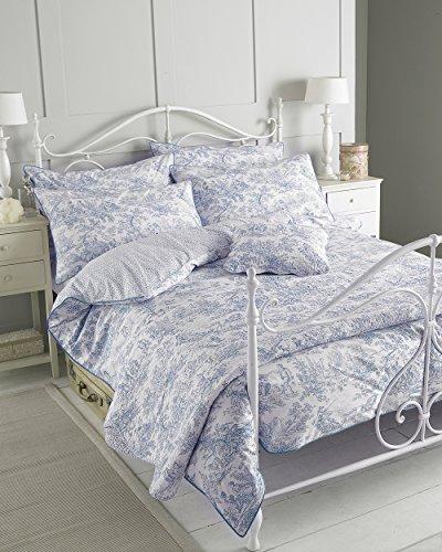 "Riva Paoletti Canterbury Tales Einzelbettbezug-Set - Blau - Weinlese Toile de Jouy-Muster - 1 x Pillowcase inklusive - 200 Thread Count - 100% Baumwolle - 137 x 200 cm (54"" x 79"" Zoll)"