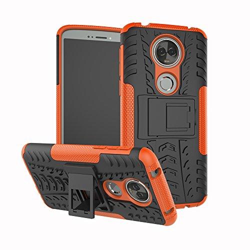 TiHen Handyhülle für Motorola Moto E5 Plus Hülle, 360 Grad Ganzkörper Schutzhülle + Panzerglas Schutzfolie 2 Stück Stoßfest zhülle Handys Tasche Bumper Hülle Cover Skin mit Ständer -Orange