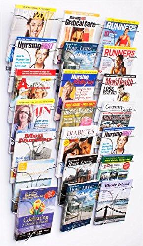 Literature Storage Racks, 21-Pocket Brochure Holders for 8.5 x 11 Magazines, Wall Mounted � Chrome Finish
