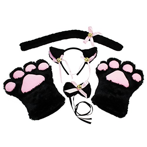 KEESIN Conjunto de Cosplay de Gato Guantes de Garra de Felpa Orejas de Gatito de Gato Collar de Cola Patas Disfraz de Fiesta Adorable Lindo para niños y Adultos (Negro)