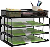 Reliatronic Mesh Office Desk Organizer, Stackable File Letter Tray Organizer Perfect for Home Office, Black
