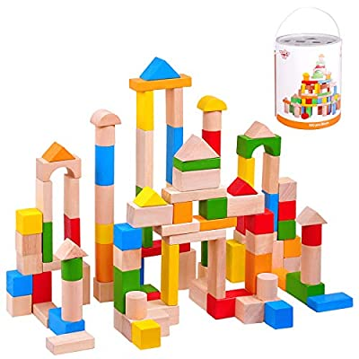 TOOKYLAND Kids Wooden Building Blocks Construction Building Toys Set Stacking Bricks Board Games Educational Montessori Toy for Toddlers - 100 Pieces