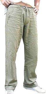 Pantalones Hombre Verano Pantalones de Lino Sueltos Pantal/ón de Playa Color s/ólido Moda Hombres Largos Pantalone Casuales Transpirable C/ómodo Pantalones Casuales RIOU