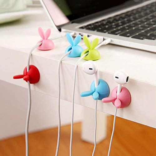 Demarkt 3Pcs Rabbit Clips Rangements de câbles Desktop Câble Clips USB Wire Head Holder Portable Home Office USB câble Clips (Couleur aléatoire)☆