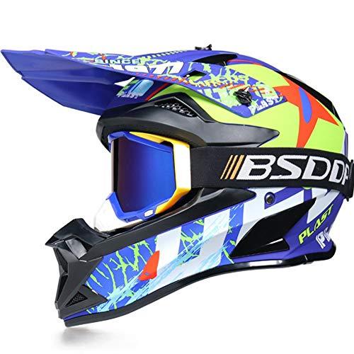 Casco Motocross,Adultos Cascos a Off-Road para Bicicleta de Montaña Enduro Todoterreno Motociclet con Gafas de Protección,Azul,XL