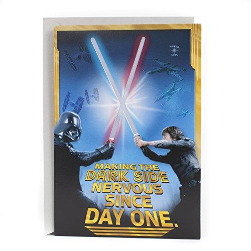 Hallmark Star Wars Birthday Card with Light and Sound (Happy Birthday, Young Jedi) (0799RZB8009)