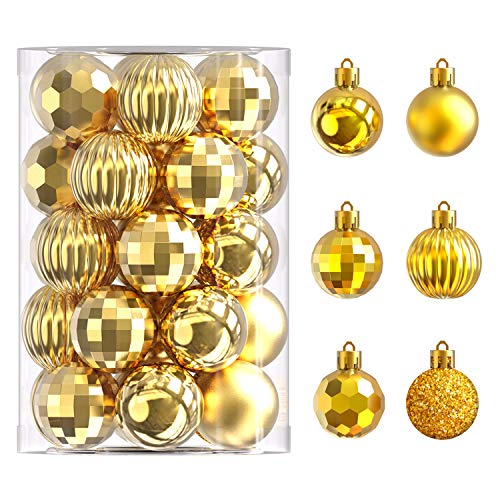34 Ct Christmas Tree Ornaments 1.57 inch Shatterproof Plastic Xmas Tree Hanging Balls for Christmas Decorations (Gold)