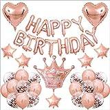 Decoración de Cumpleaños Oro Rosa,Feliz Cumpleaños Decoración Oro Rosa,Fiesta Decoracion Cumpleaños Infantil,Pancarta de Feliz Cumpleaños,Decoraciones para Cumpleaños.Oro rosa)