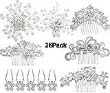 JACIYA 6pcs Bridal Wedding Hair Combs+20pcs Crystal Hair Pins Hair Clips for Women Bridal Wedding Headpiece for Bridesmaids