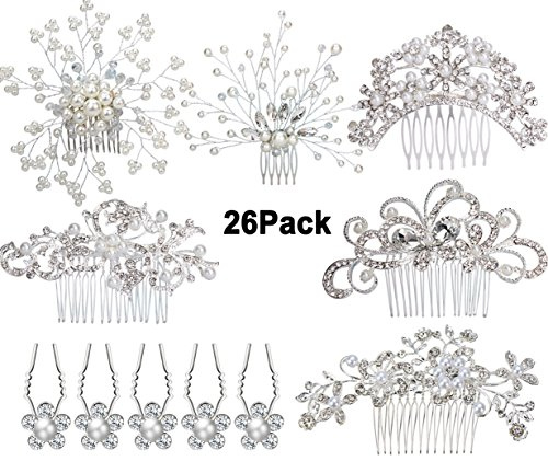 6pcs Bridal Wedding Hair Combs+20pcs Crystal Hair Pins Hair Clips for Women Bridal Wedding Headpiece for Bridesmaids