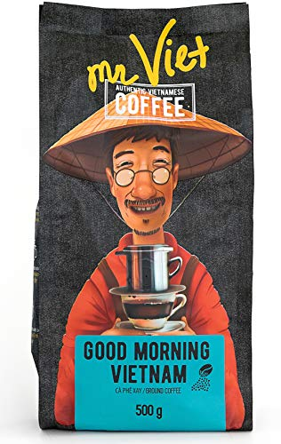 Mr Viet Good Morning Vietnam   Fresh and Promptly Delivered from Vietnam - Ground Coffee Roasted Authentic Vietnamese Strong Blend, Suitable for All Coffee Machines 500g