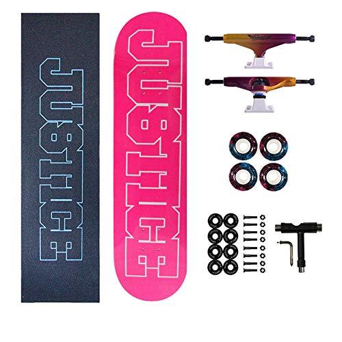 Skateboards komplett 32 x 8, 7 lager lönn dubbel kick konkav standard och tricks skateboards för barn och nybörjare bra kreativ present inloggning rosa vit