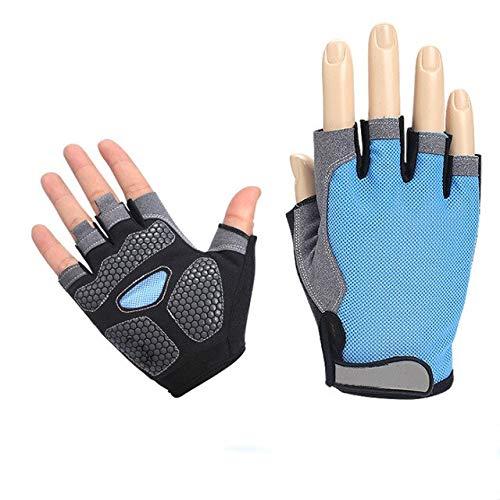 Lady Half Finger Gym Gants sans Doigts Body Building Femmes Hommes Formation Fitness - Type de Mise à Niveau Bleu, M