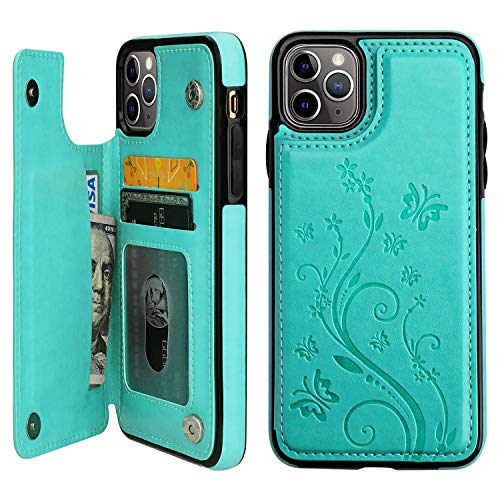 Vaburs iPhone 11 Pro Max Case Wallet with Card Holder, Embossed Butterfly Premium PU Leather Double Magnetic Buttons Flip Shockproof Protective Cover for iPhone 11 Pro Max 6.5 Inch(Green)