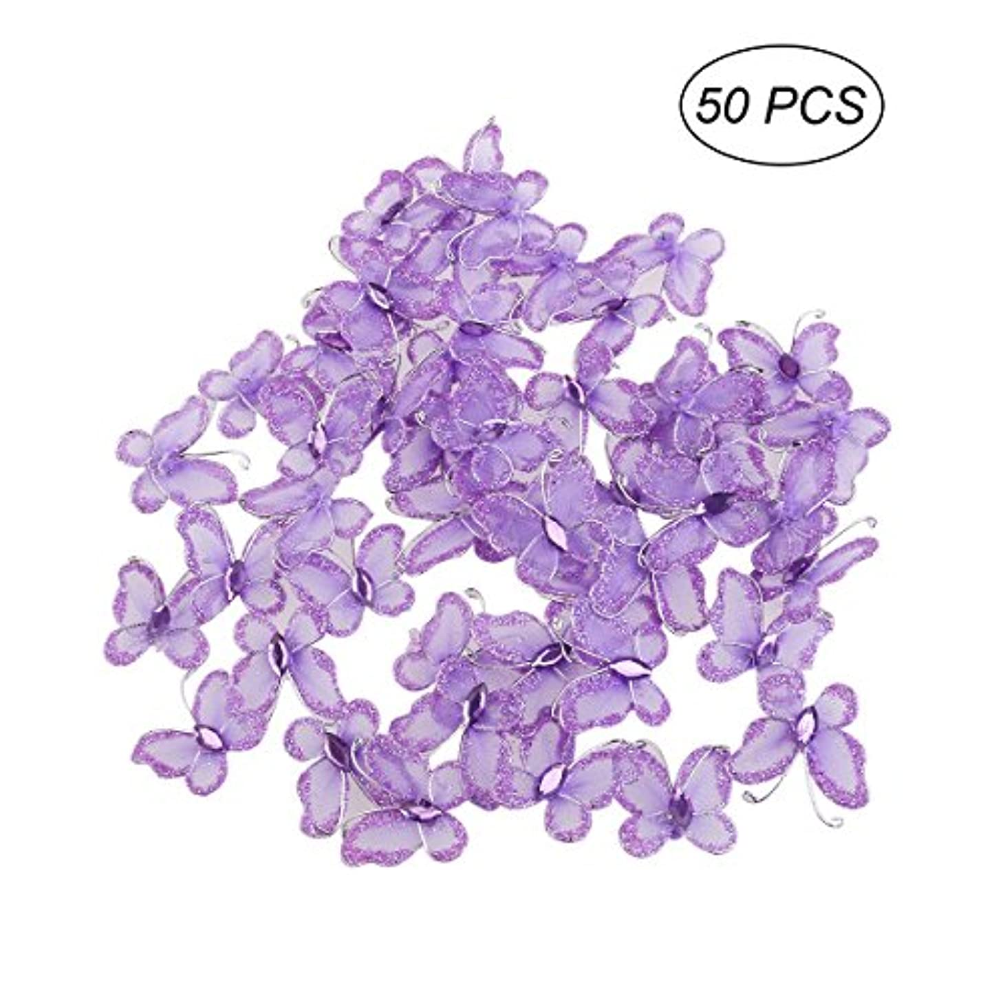 TOYMYTOY Butterfly Decoration, 3D Glitter Wall Decoration for Nursery Room, Girl's Bedroom, Wedding and Birthday Party - 50pcs(Purple)