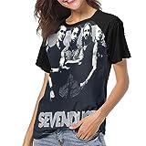 Sevendust Seasons Baseball T-Shirt Womens Short Sleeve Novelty Round Neck Tops Black